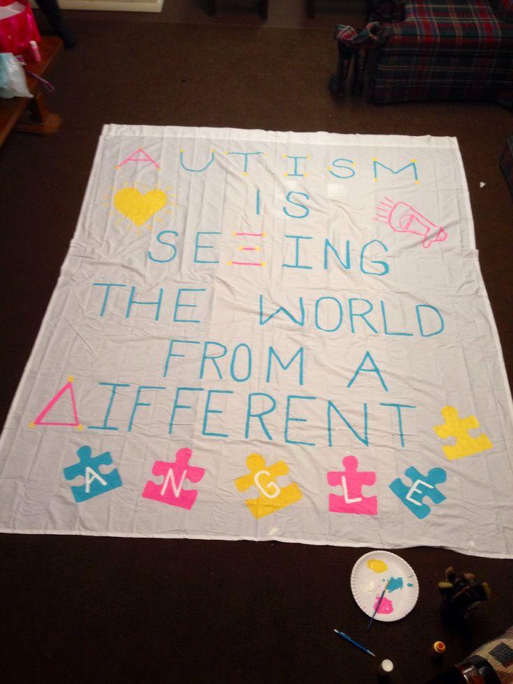 Alpha Xi Delta's Delta Nu chapter banner for Autism Speaks.