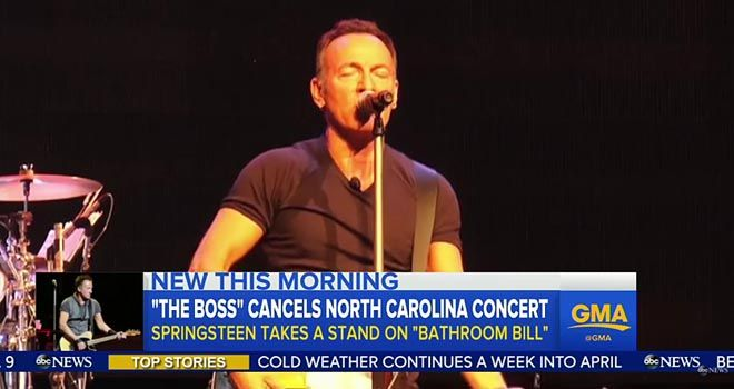 As everyone in America knows by now, the old rocker Bruce Springsteen has canceled a concert in North Carolina, because the state passed a law preserving the status quo ante as of ten seconds ago, which is that men empty their bowels in the men's room and not in the ladies' room. It should be …