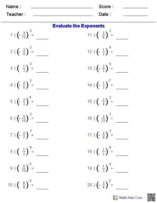 Solving Fractions with Exponents Worksheets