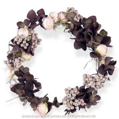 髪飾り・ヘッドドレス/ローズと紫陽花の花冠(ブラウン) - ウェディングヘッドドレス&花髪飾りairaka