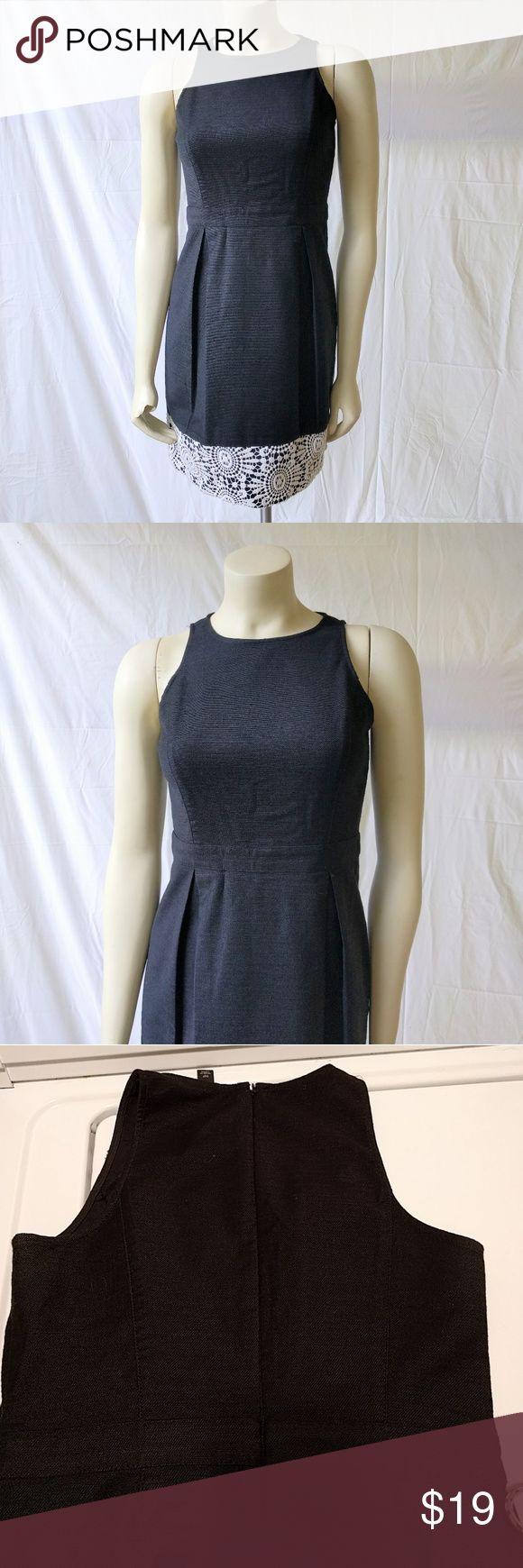 Ann Taylor Petite black dress with lace detail Ann Taylor Petite Black dress with lace details on bottom part. Dress is cotton but looks like linen. Not that wrinkly though. It's not lined. Material is semi stretchy. Body 98% cotton 2% spandex Lace: 100% cotton.  Dry clean. Gently used. No stains or holes.   Measurements laying flat: approx. Armpit to Armpit: 17in. Waist: 13.5in Hips: 19in Shoulder to hem: 33in.  Thanks for stopping by. Ann Taylor Dresses Midi