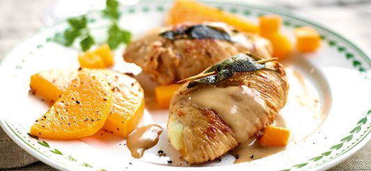 Delhaize - Rolletjes van kalkoen gevuld met butternut en mozzarella