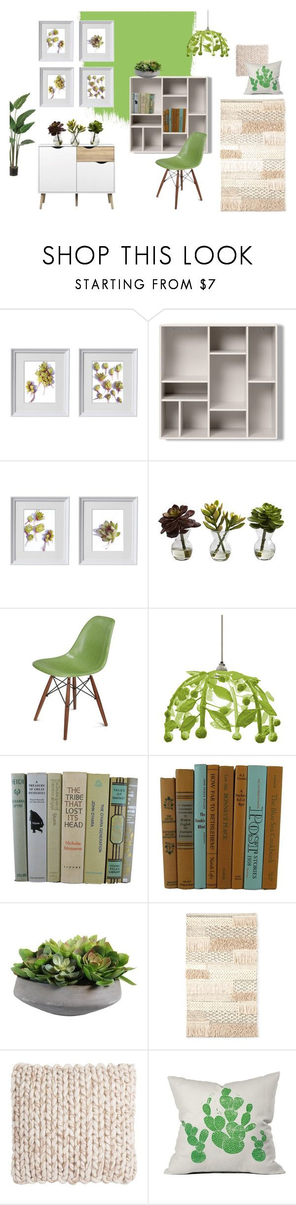 Home Decor set inspired by succulent plants. Green and natural shades.  #succulent #cacti #homedecor #homeoffice #livingroom #green #gallerywall #gallerywallart #walldecor  Succulent Lover by kacix on Polyvore featuring interior, interiors, interior design, home, home decor, interior decorating, Modernica, Stray Dog Designs, Safavieh and DENY Designs
