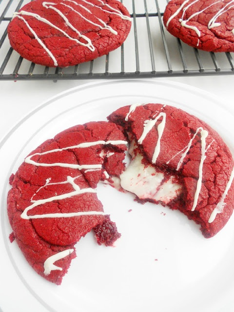 These are absolutely amazing! Red velvet cookies with cream cheese filling and white chocolate drizzle...from a box!