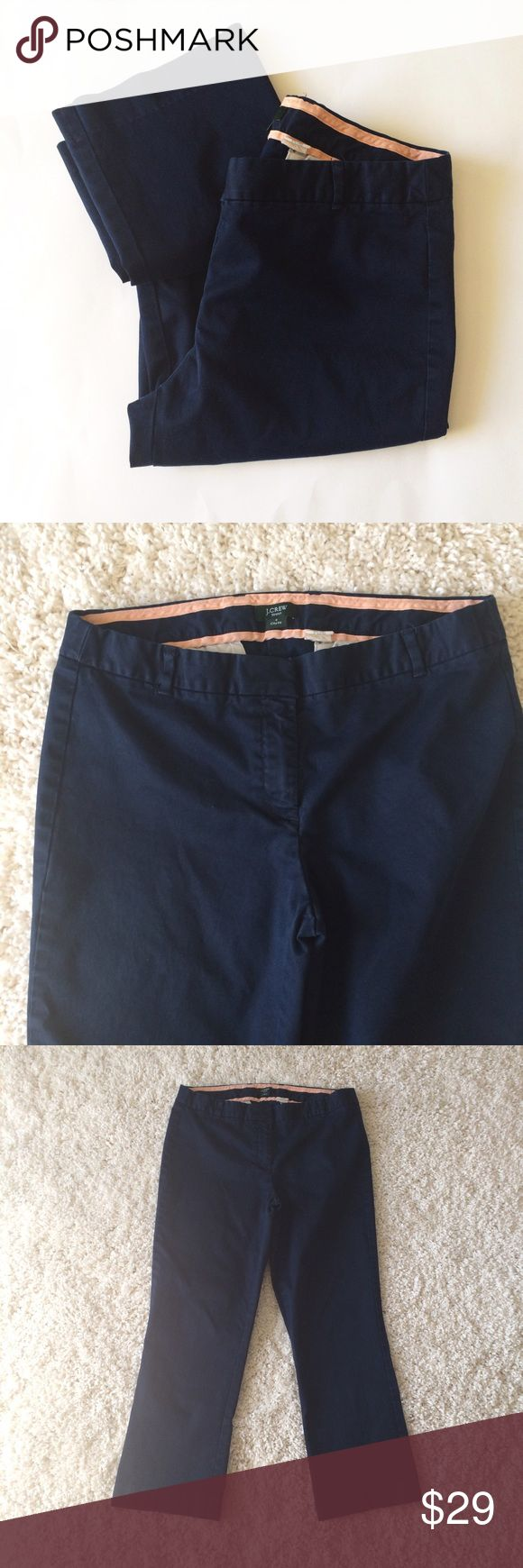 "J. CREW Navy blue city fit Ankle Pants chino NAVY blue city fit Ankle Pants. Zipper and tab closure. Cotton and spandex. Waist 15"" across. Inseam 24.5"". Rise 8.5"". Leg opening 7.75"" across. J. Crew Pants Ankle & Cropped"