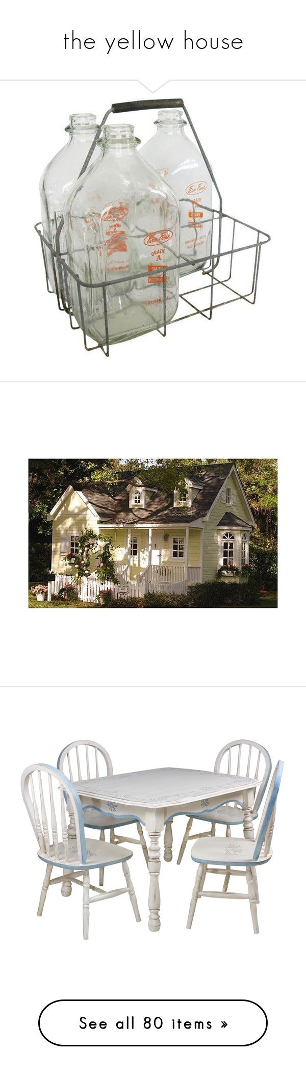 """""""the yellow house"""" by rosepunzels ❤ liked on Polyvore featuring home, kitchen & dining, bottles & jars & jugs, filler, vintage crates, milk jug, vintage glass jars, metal milk jug, vintage jars and children's room"""