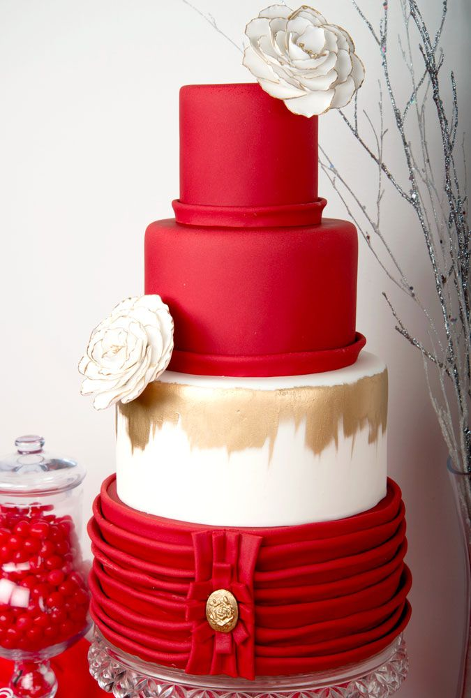 Red and white wedding cake - Canada's Prettiest Wedding Cakes For 2016 | Weddingbells