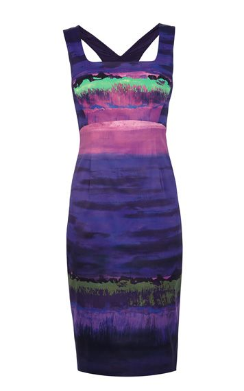 Painterly stripe print dress