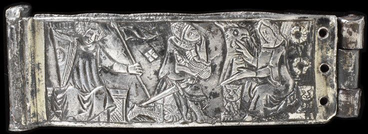 Plaques from a girdle. France (possibly, made), ca. 1300. Silver, silver gilt, engraved.  These three plaques show typical scenes from a medieval courtly romance, depicting knights, musicians and ladies of the court. They were originally enamelled with polychrome translucent enamel which would have provided a brilliant and stylish effect. http://collections.vam.ac.uk/item/O145020/plaques-from-a-unknown/
