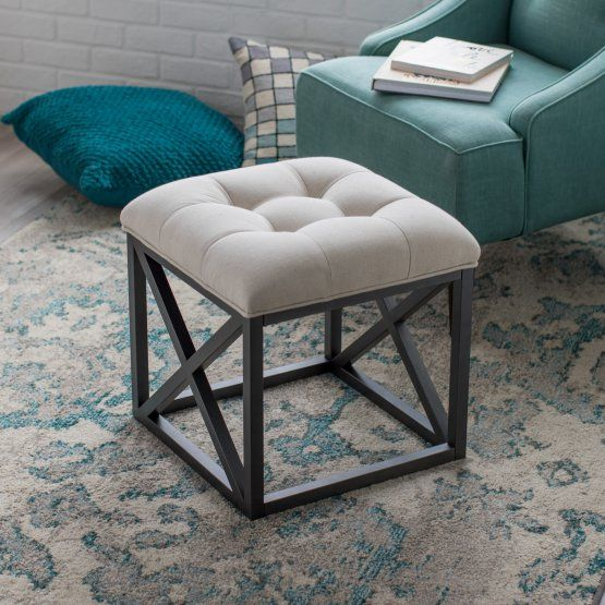 Belham Living Grayson Tufted Cube Ottoman Linen Cube Ottoman Ottoman Furniture