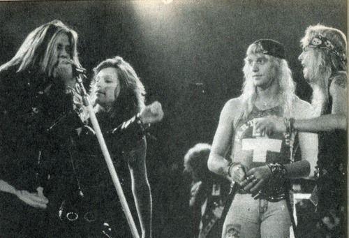 Sebastian Bach, Jon Bon Jovi, Jani Lane and Bret Michaels performing together in 1989.