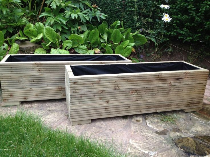 2 metre large wooden garden trough planters made in decking boards plant pots