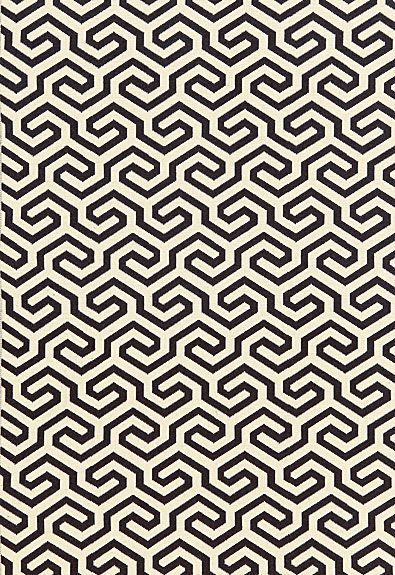"""Schumacher """"Ming Fret"""" Fabric in Noir / Fabric SKU - 66881 Repeat - Straight Width - 50"""" Horizontal Repeat - 4.125"""" Vertical Repeat - 5.5"""" Abrasion Results - Martindale 18,000 Fabric Content - 75% Cotton / 25% Linen"""