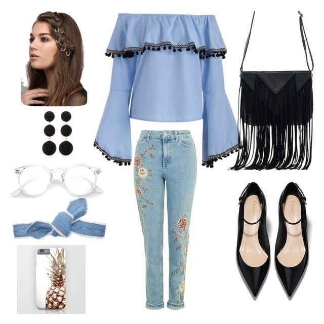 """""""Blue Black"""" by ajengdapa03 on Polyvore featuring WithChic, Colette Malouf, Rare London and Cara Accessories"""