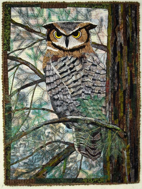 Barbara Strobel Lardon Art quilts: The Great Horned Owl