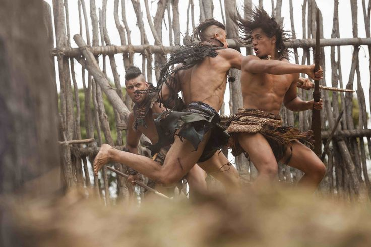 Hongi (James Rolleston) (on right) fights Rangi (Xavier Horan) and Wirepa (Te Kohe Tuhaka) Māori Warriors on The Dead Lands film  #DeadlandsMovie #Hautoa http://www.pinterest.com/bradwalker/