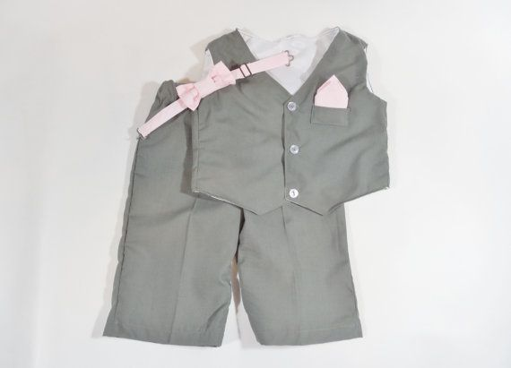 Gray baby boy or toddler suit set. Gray boy's by CuppyCakeClothing