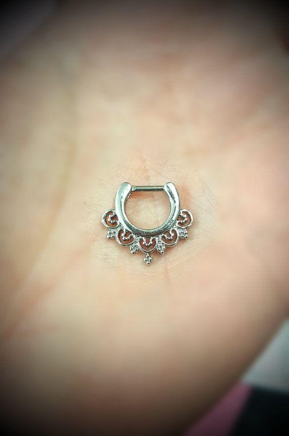 Septum Daith toren Clicker 16g Piercing chirurgische staal 316L sieraden Ring zilveren Victoriaanse Dainty