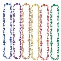 1 - 36 inch strand of beads spells out 'Happy 21st Birthday' and come in a variety of colors. Each strand is sold individually. Great for the birthday girl/boy or fun to hand out as party favors. You only turn 21 once!!