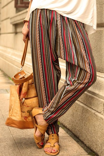Bohemian Striped Harem Pants will give you classy look. take comfy footwear and…