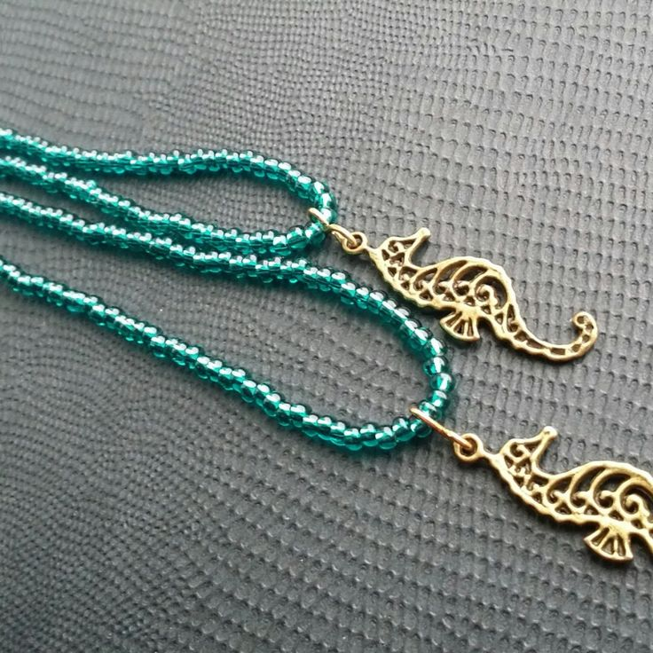 New creation from Dorset Creations! Turquoise beaded bracelet and necklace set with seahorse charms.
