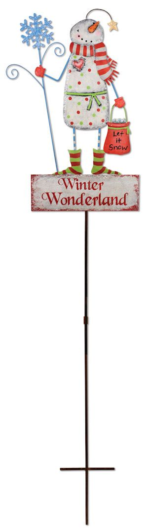 Winter Wonderland Snowman Lawn Decoration. Christmas Lawn Stake and Sign Combo. Free Shipping. $39.99. http://www.happyholidayware.com/Ornaments/Christmas-Lawn-Door-Outdoor-Decorations/Winter-Wonderland-Snowman-Lawn-Decoration/1230.htm.