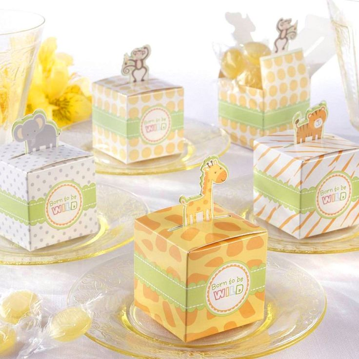 Jungle themed baby shower favor boxes safari themed baby for Animal themed bathroom decor