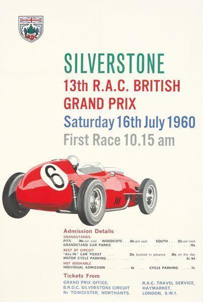 Vintage 1960 British Grand Prix Silverstone Motor Racing Poster A3 Print