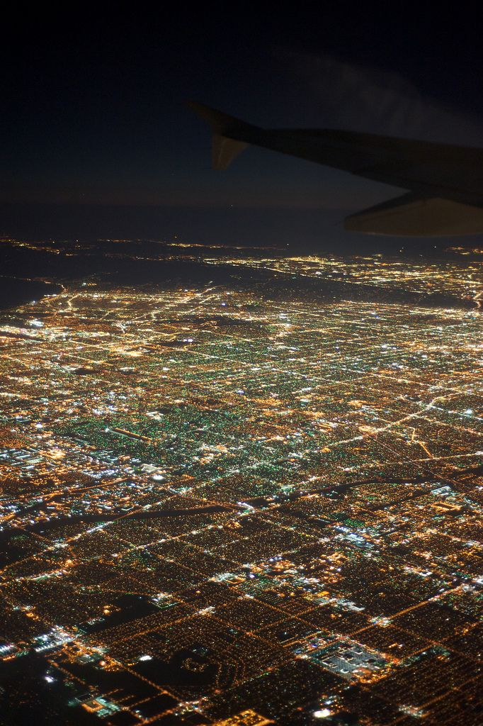 Los Angeles City Lights by airplane -- This was always so pretty when we would land at the LA International Airport.