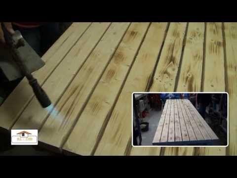 Tuintafel ( met vurenhouten balken en steigerbuizen van RE-OBI.) - YouTube