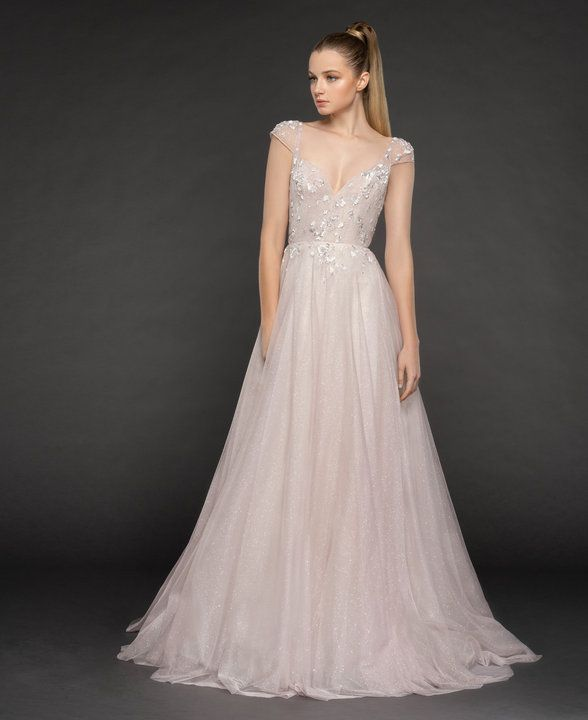 Style 1861 Amour Blush by Hayley Paige bridal gown – French lilac starlight tull…