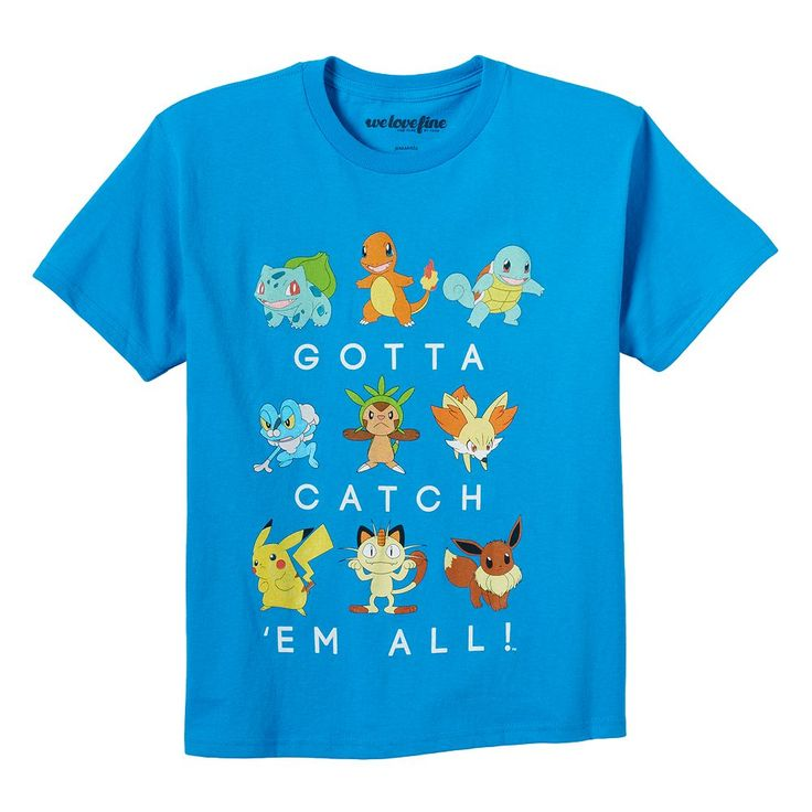 Boys 8-20 Pokemon Catch 'Em All Tee, Size: Medium, Turquoise/Blue (Turq/Aqua)