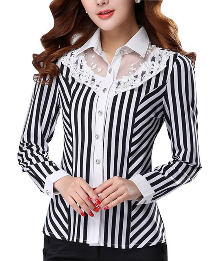 Laypoo Women's Chiffon Slim Lace Stripe Office Shirt Patchwork Long Sleeve Blouse at Amazon Women's Clothing store: