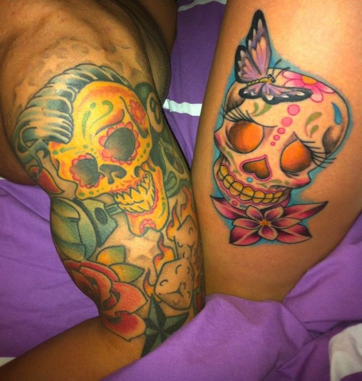 His And Her Sugar Skull Oldscool Tattoo Cool Tattoo Pinterest Sugar Skulls Tattoo And Tatting