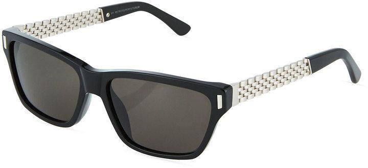 Super by Retrosuperfuture Novanta Rectangle Sunglasses w/ Chain-Link Arms, Black/Silver - $116.35