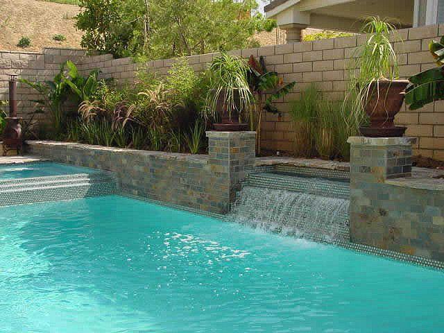 Custom swimming pool water feature design pool ideas - Swimming pool waterfalls water features ...