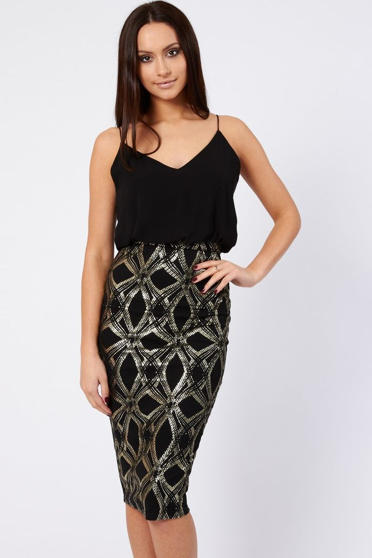 TFNC Dress<br /> <br /> - Camisole style top<br /> - V neckline<br /> - Bodycon skirt<br /> - Textured skirt<br /> - Gold metallic pattern<br /> - Midi Length<br /> - Silver button fastening on the back<br /> - Hidden zip on the back of skirt<br /> <br /> Material:<br /> - 95% Polyester<br /> - 5% Elastane <br /> <br /> Garment Care:<br /> - Hand-wash only<br /> - Cool iron<br /> - Do not bleach<br /> - Do not tumble dry
