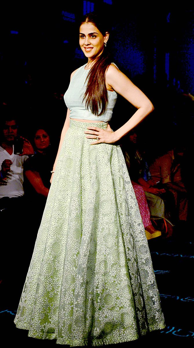 Genelia D'Souza Deshmukh at the grand finale of Lakme Fashion Week Winter/Festive 2015. #Bollywood #LFW2015 #Fashion #Style #Beauty #Cute