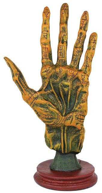 "A wonderful tool for magical study, the Alchemy Palmistry Hand depicts a human hand as though it were taken from a corpse. Cold cast resin: 10 1/2"" x 5"" x 3 1.2"""