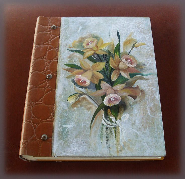 Vintage Illustrated LILIES - Custom Wedding GUEST BOOK - Totally Handmade and Handpainted by allabouthandicraft on Etsy