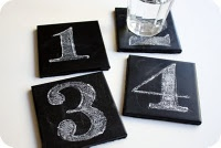 Chalkboard coasters! What...love this. You could write people's names on them to keep the glasses straight!