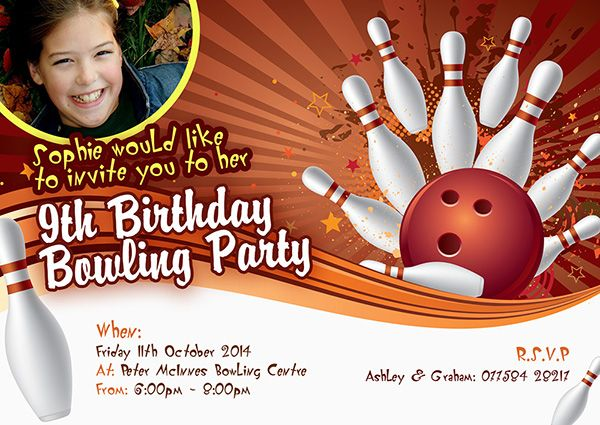 A personalised Bowling party invite perfect and unique to complement your childs birthday party theme. For a full range of different party theme invites visit www.justthecard.co.uk