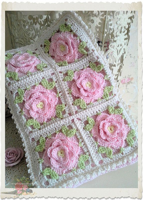 Handmade shabby chic crochet tablet cover with pink roses