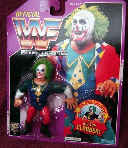 "WWF Hasbro Doink the Clown Wrestling Action Figure WWE WCW ECW by Hasbro. $55.27. With Big Top Clobber move. Purple Card. Poseable detailed action figure. WWF/WWE's Doink the Clown on Purple Card with ""Big Top Clobber"" move. Fully poseable detailed wrestling action figure."