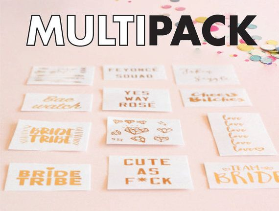 Set of 40 bachelorette tattoo mega multipack, bachelorette party favor, bride tribe. flash tat, bridesmaid gift, metallic tattoo