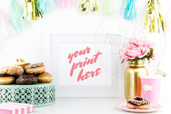 Styled Stock Photography / Product Photography / Pink Flowers, Donuts, Teal Gold Party Decor / Kitchen / Blank Frame / Empty Frame / P006