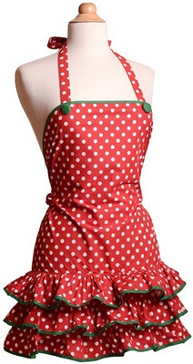 Now these are aprons! Love the polka dots red one!