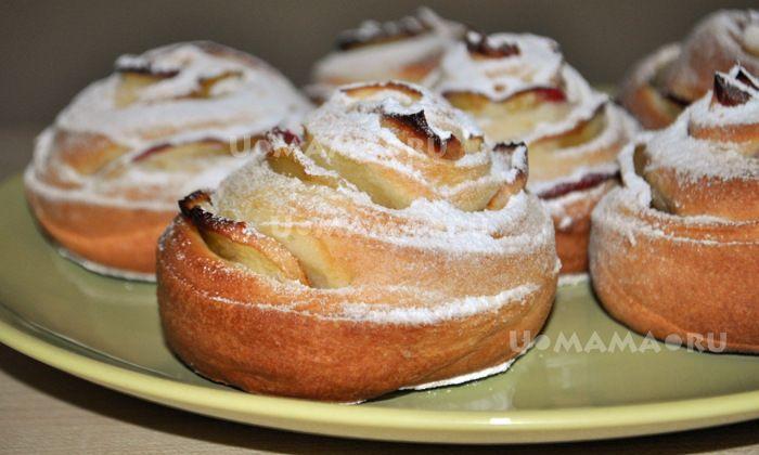 Яблочные розы-вертушки из творожного теста / U-MAMA.RU