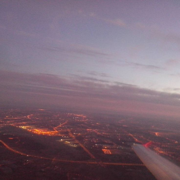 """#wakeup #warsaw !  #flytosky #lights #startday #morning #plane #sunrise #wizzair"""
