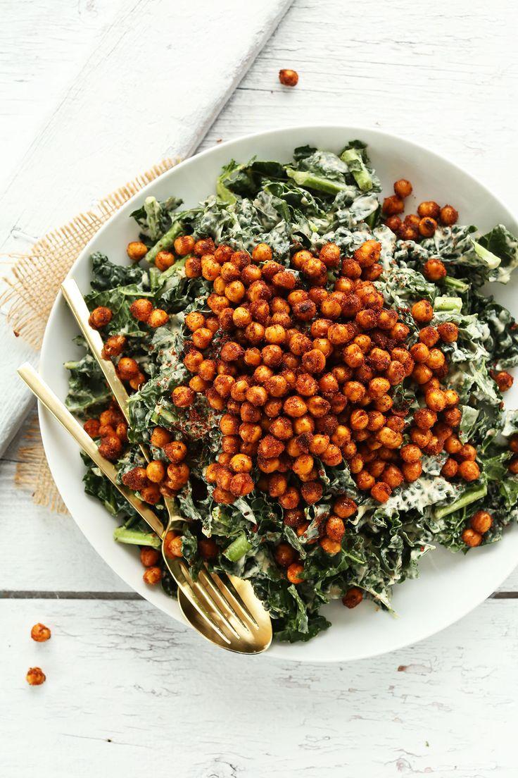 30 Minute Garlicky Kale Salad with Crispy Tandoori Roasted Chickpeas! #vegan #glutenfree